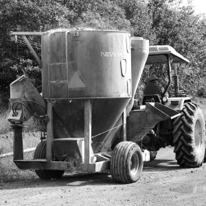 _MG_7582 tractor towing grainmill b&w